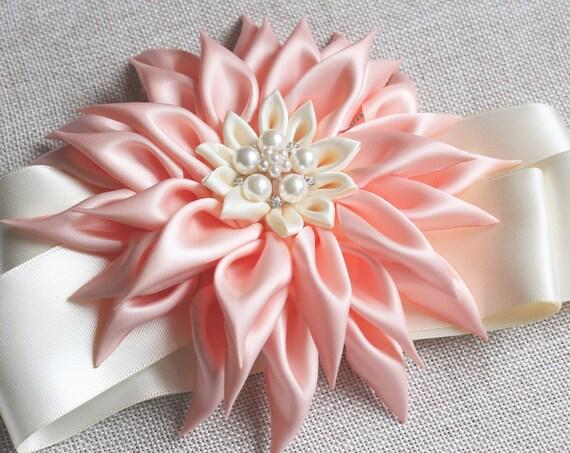 Flower wedding belt Floral Bridal Sash for Wedding Dress  Dahlia Flower Bridesmaid Dress Belt Romantic Wedding Floral Sash Prom flower belt