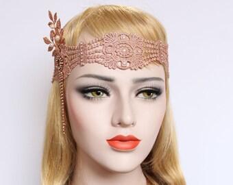 Great Gatsby headpiece Rose Gold Flapper Headband 1920s wedding headpiece Gatsby Wedding Dress Bridal Headband Bachelorette Hen Party