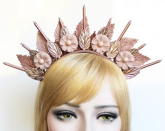 Rose Gold Goddess Crown Lace Halo Crown Flower Headpiece Spike Headband Virgin Mary Bridal Crown Starburst Headdress Burning Man Costume
