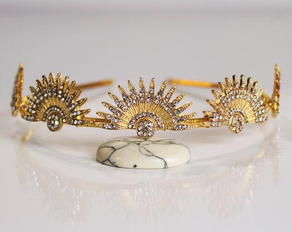 Gold Art Deco Celestial Headpiece Wedding Starburst Crown Tiara Bridal Sunburst Crown Downton Abbey 1920s Headband Great Gatsby Wedding