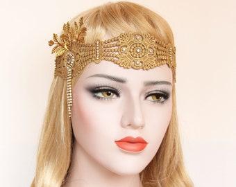 Great Gatsby headpiece Feather Flapper Headband 1920s wedding headpiece Gatsby Flapper Dress Bridal Headband Bachelorette Hen Party