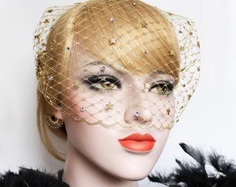 Gold Celestial Wedding Birdcage Veil 1920s Gatsby Headpiece Swarovski Crystal Veil Art Deco Starburst Bandeau Veil 20s' wedding dress Veil