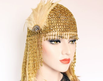 Gold Headpiece for Great Gatsby Party or Event | 1920s Headband | Bridal Headpiece | Egypt Cleopatra Costume | Matches Roaring 20s Dress