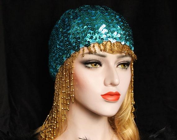 Turquoise Gatsby Headpiece Silver Art Deco Beaded Cap Sequin Flapper Headpiece 1920s Downton Abbey Bridal Headpiece Gatsby Wedding Dress