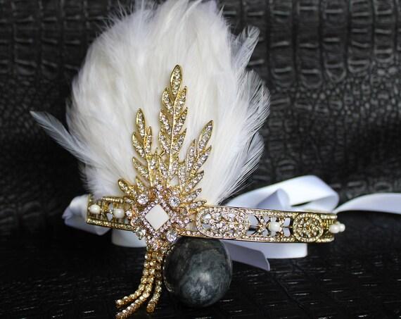Art Deco Bridal Headpiece Gold White Feather Flapper Headband for Gatsby Wedding Dress Roaring 1920s headband Custom Tiara