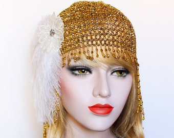 Gold 1920s Headpiece Great Gatsby Beaded Cap White Feather Flapper Headband Downton Abbey Bridal Headpiece Roaring 20s Wedding Dress