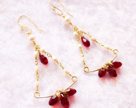 Akoya pearl Chandelier earrings Bridal Gold filled earrings Crystal briolette Freshwater pearl dangle earrings Wedding dress gift for bride