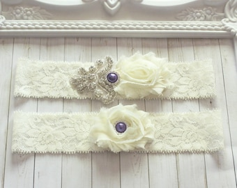 Bridal Wedding Garter set Ivory White Lace Garter Set Purple Rhinestone Pearl Garter Set Vintage Garter Toss Keepsake Garter Something Blue