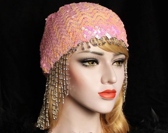 Silver Gatsby Headpiece Art Deco Beaded Cap Pink Sequin Flapper Headpiece 1920s Downton Abbey Bridal Headpiece Gatsby Wedding Dress