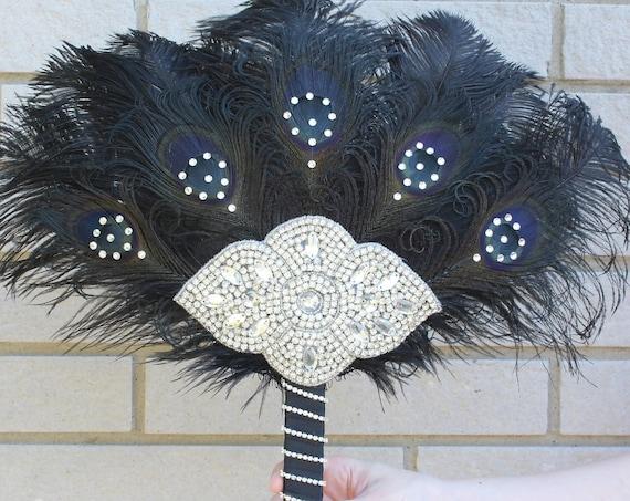 Great GATSBY Ostrich Feather Fan Wedding brooch Bouquet Gatsby Dress 1920s Feather Bouquet Gatsby Bouquet Roaring 20s alternative bouquet