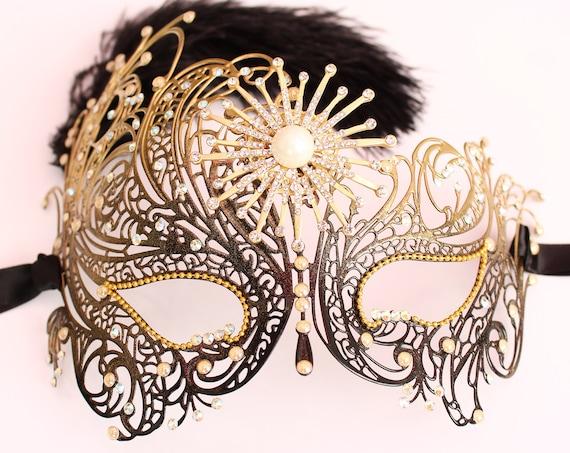 Gatsby Masquerade Mask Swarovski Crystal Bridal Mask Sexy Burlesque Feather Rhinestone Mask fifty Shades Boudoir Bachelorette Hen Party