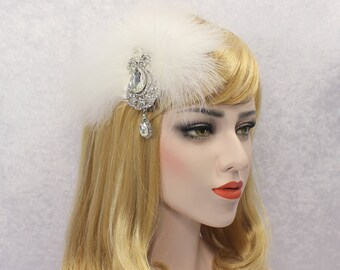 Gatsby hair piece feather fascinator | White feather hair clip 1920s 20s headpiece Wedding bridal fascinator Vintage style hair piece