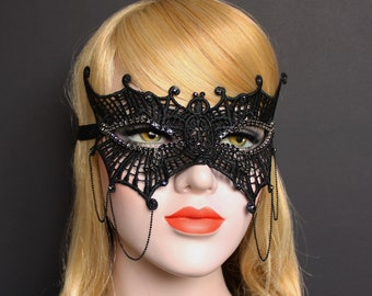 Black Bat Masquerade Mask Swarovski Crystal Lace Mask Women masquerade masks Masquerade Ball Masked Costume Party Bachelorette Party