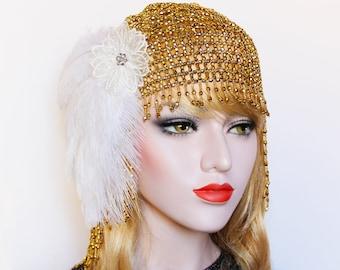 1920s beaded Headpiece Great Gatsby headpiece gold White Feather Flapper Headband Downton Abbey Bridal Headpiece Roaring 20s Wedding Dress