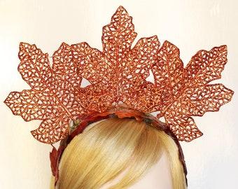 Autumn Leaf Headband Fall leaves Headpiece Bridal Leaf Halo Crown Flower Crown Fall Wedding Harvest Autumn Woodland Fairy Costume Headpiece