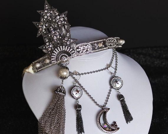 Silver 1920s Celestial Goddess Headpiece Star Moon Locket Necklace Earrings Art Deco Great Gatsby Wedding Headpiece Jewelry Jewellery Set