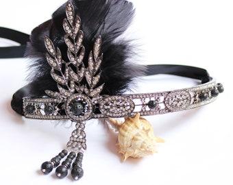 Great Gatsby Headpiece Flapper Headband 1920s Headpiece Gatsby Dress Roaring 20s headband Custom Headpiece Bachelorette Hen Party Prom