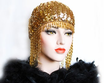 Gold Gatsby Headpiece Roaring 20s Beaded Cap Sequin Flapper Headpiece Downton Abbey Bridal Headpiece for Gatsby Wedding Dress