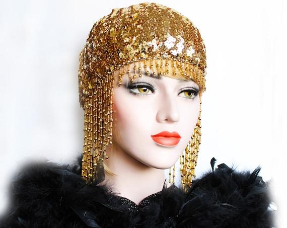 Gold Gatsby Headpiece Roaring 20s Beaded Cap Sequin Flapper Headpiece Downton Abbey Bridal Headpiece for Gatsby Wedding Dress