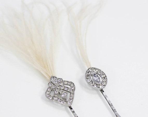 Art Deco Hair pins for gatsby 1920s dress Wedding hair clip Bridal feather fascinator Headpiece Geometric Bridesmaid Hair Pins Prom
