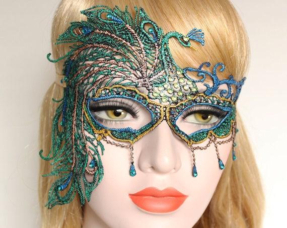 Sexy Masquerade Mask Peacock Feather Mask Women Mardi Gras Lace Mask Phantom Boudoir Crystal Bridal Mask Bachelorette Hen Party