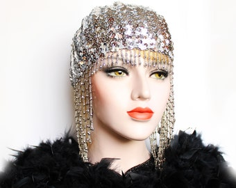 Silver Gatsby Headpiece Roaring 20s Beaded Cap Sequin Flapper Headpiece Downton Abbey 2020 Bridal Headpiece for Gatsby Wedding Dress