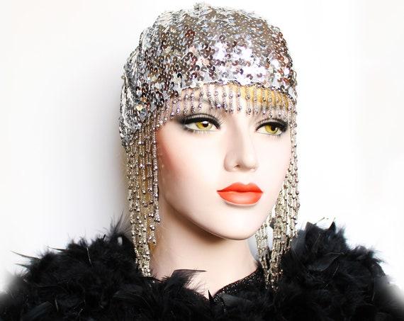 Silver Gatsby Headpiece Roaring 20s Beaded Cap Sequin Flapper Headpiece Downton Abbey 2020 Bridal Headpiece for Gatsby Wedding Dress