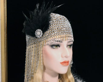 Beaded Gatsby Headpiece | Roaring 20s 1920s Flapper Headpiece Bachelorette Party Hen Party Gatsby dress Egyptian Cleopatra Costume headpiece