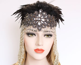 Black silver Gatsby Headpiece 20s Soiree Flapper Beaded Cap Art Deco Hair Piece Gatsby Dress Bachelorette Feather Flapper Headpiece