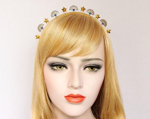 Sapphire Art Deco Celestial Headpiece 1920s Gold Wedding Starburst Tiara Star Wedding Headpiece Sunburst Crown Blue Gold headband
