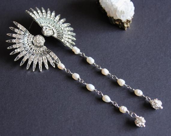 Silver Art Deco Celestial Earrings 1920s Star Pearl Earrings Crystal Starburst Earrings Great Gatsby Wedding Sunburst Avant garde earrings