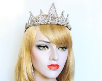 Swarovski Wedding Tiara Silver Pointed Crown Silver Bridal headpiece Luxury Crystal Tiara Custom Crown