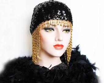 Gold Gatsby Headpiece Roaring 20s Beaded Cap Black Sequin Flapper Headpiece Downton Abbey Bridal Headpiece for Gatsby Wedding Dress