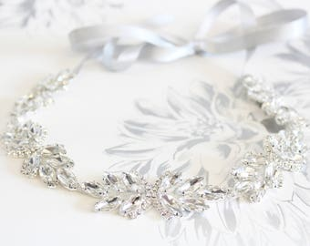 Luxury Wedding Headband 1920s Crystal Headband Silver Crystal headpiece Couture Bridal Hair piece Statement Headpiece Gatsby 1920s Dress
