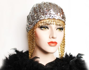 Silver Gold Gatsby Headpiece Roaring 20s Beaded Cap Sequin Flapper Headpiece Downton Abbey Bridal Headpiece for Gatsby Wedding Dress