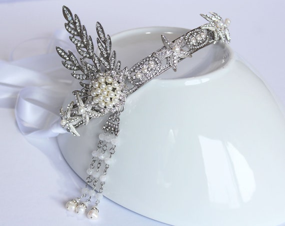 Starfish Wedding Crown Gatsby Headpiece for 1920s Star Wedding Dress Art Deco Star Fish Bridal Tiara Celestial Wedding Under the sea Tiara