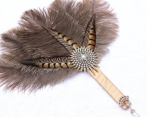 Pheasant Ostrich Feather Fan Wedding Bouquet Antique Gold Great Gatsby Dress Roaring 20s Art Deco Brooch Bouquet Bridesmaid hand fan