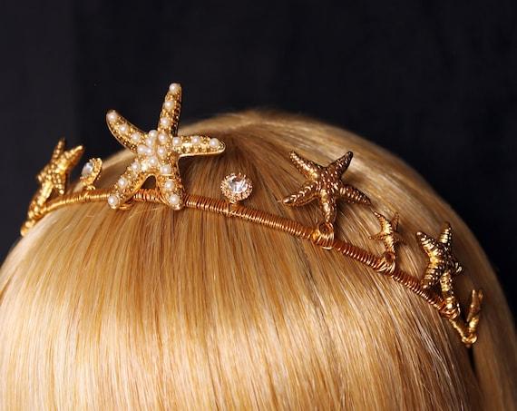 Gold Starfish Tiara Wedding Mermaid Crown Star Fish Bridal headband Beach Wedding dress Destination Wedding Under the Sea Mermaid Headpiece
