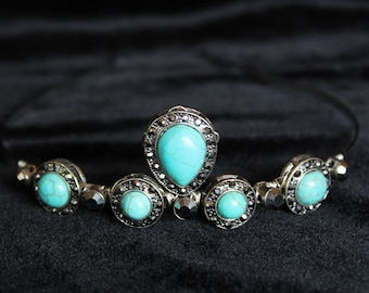 Turquoise Wedding Tiara Vintage Hematite Bridal Headpiece Boho headband Turquoise bridal tiara Hair accessories