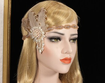 1920s Gatsby Headpiece Rose Gold 20s Gatsby Flapper dress Feather Headband Wedding Bridal Prom Headpiece Gatsby Bachelorette Hen Party
