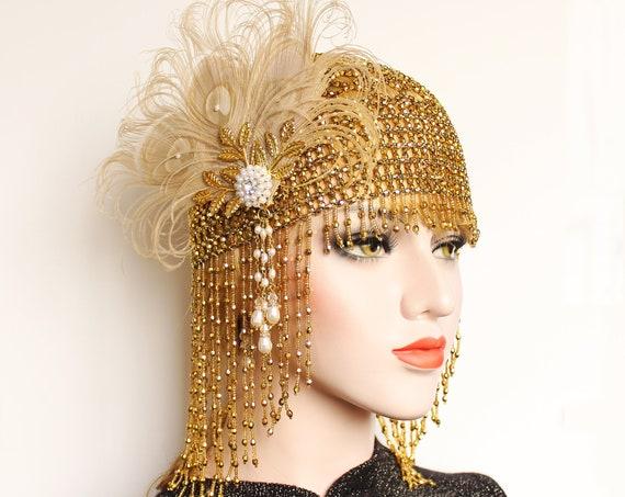 Gold 1920s Gatsby headpiece Beaded Cap Roaring 20s Flapper Dress Art Deco Headpiece Feather flapper Pearl Bridal headpiece Bachelorette