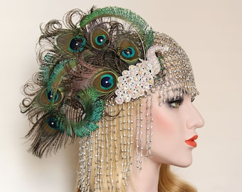 Peacock Gatsby Headpiece 1920s vintage headband cleopatra costume accessory | perfect for great gatsby flapper roaring 20s dress wedding