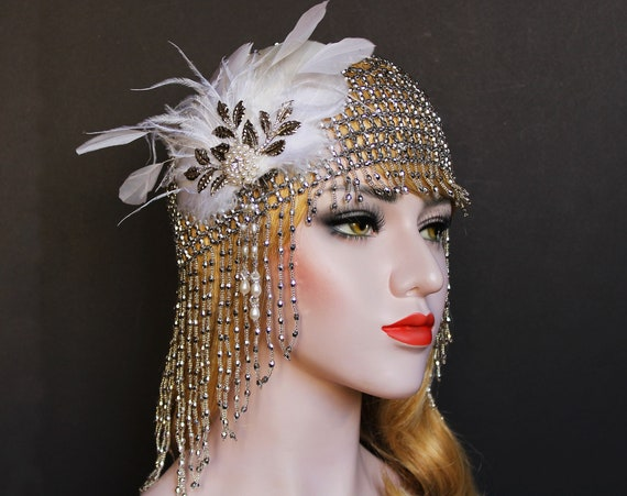 White Gatsby Headpiece Silver Art Deco Beaded Cap 1920s Bridal Headpiece Gold Roaring 20s Feather flapper Gatsby wedding dress Headpiece