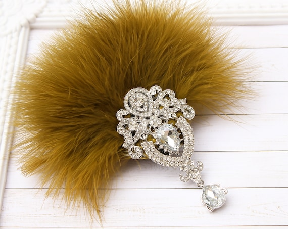 1920s Great Gatsby Olive green Feather Fascinator 20s Feather hair piece Clip Flapper Gatsby Wedding Dress Hen Bachelorette party
