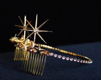 Gold Swarovski Celestial Star Tiara 1920s Starburst hair piece Art Deco Bridal Back Tiara Crystal Wedding Headpiece Celestial Wedding Dress