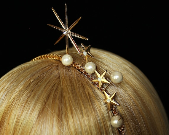 Gold Swarovski Celestial Tiara Starburst Bridal Crown Art Deco Star Headband Crystal Celestial Wedding Headpiece Celestial wedding Dress
