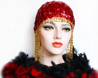 Red 1920s Gatsby Headpiece Roaring 20s Beaded Cap Sequin Gold Flapper Headpiece Downton Abbey Bridal Headpiece for Gatsby Wedding Dress