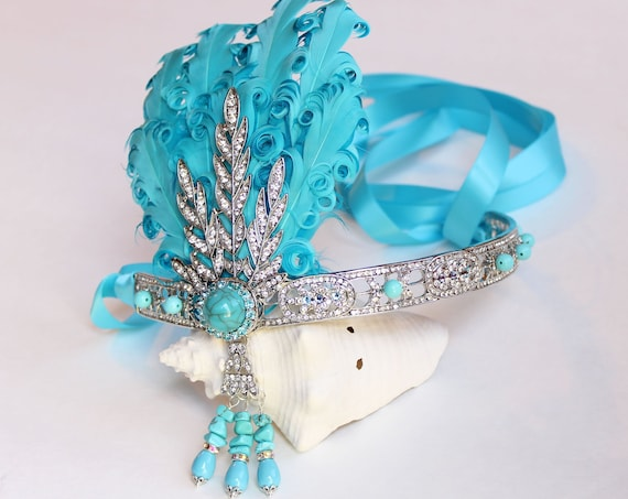 The Great Gatsby headpiece Turquoise Silver Flapper Headband Gatsby Dress Roaring 20s headpiece 1920s Feather flapper Bachelorette Hen party