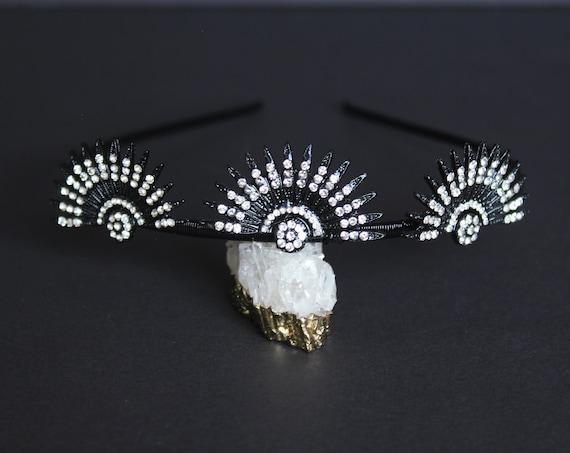 Black Celestial Headband 1920s Wedding Starburst Halo Crown Art Deco Bridal Sunburst Tiara Downton Abbey Headpiece Gatsby Wedding Dress