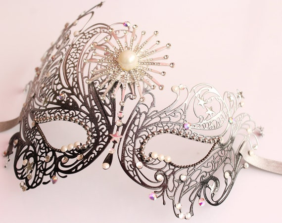 Celestial Mask Silver Galaxy STAR mask Starburst Mask for Costume Sexy Crystal Masquerade mask for Masked Ball Bachelorette Hen Party
